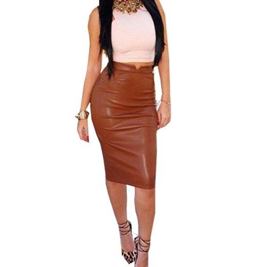 Falda de cuero de cintura alta para mujeres por debajo de la rodilla