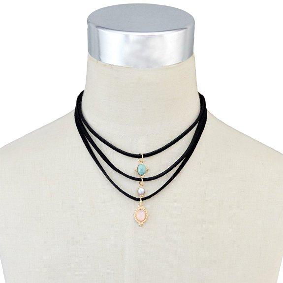 Collar Gótico 3 capas cadenas de cuero negro incrustaciones naturales turquesa