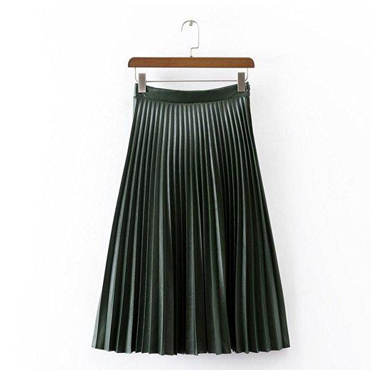 Falda de cuero plisada delgado retro de cintura alta