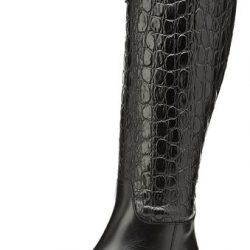 Botas de caño alto de cuero para mujer de color negro